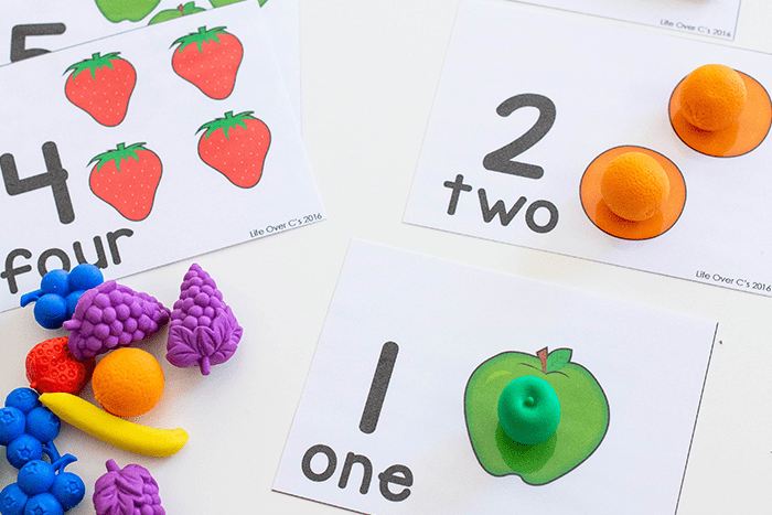 photo about Printable Fruit Pictures titled Totally free Printable Fruit Themed Counting Playing cards for Preschool