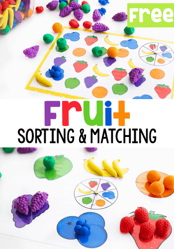 Free printable fruit games for preschoolers. Spin the spinner and match the colors and fruit.
