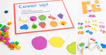 3 fruit matching games. Fruit memory game, fruit grid game, and fruit clip cards for preschool.
