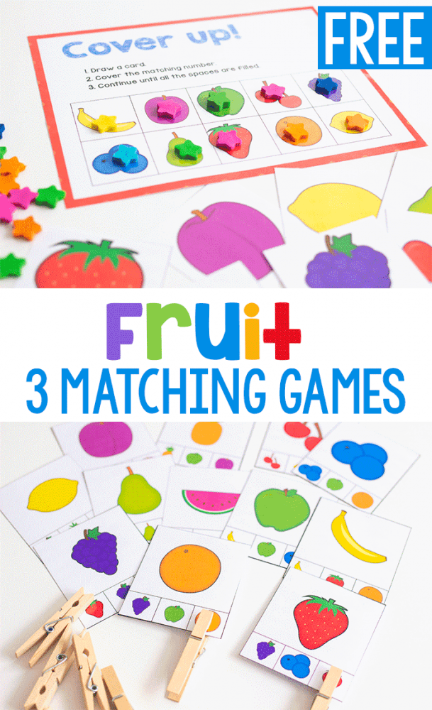 3 free printable fruit matching games for precshool. Cover up game and clothespin cards for matching pictures of fruit