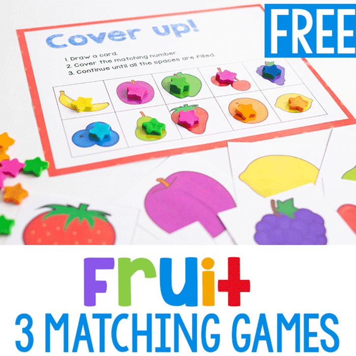Fruit grid game for matching pictures of fruit with preschoolers.