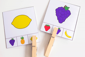 Free printable fruit matching clip cards. Attach the clothespin to the picture