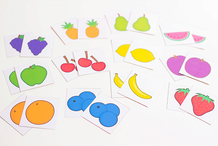 Use the fruit memory game pieces to play a simple matching game with toddlers or preschoolers.