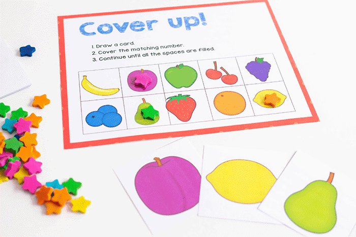 Fruit grid game cover fruit pictures with preschool fruit activity