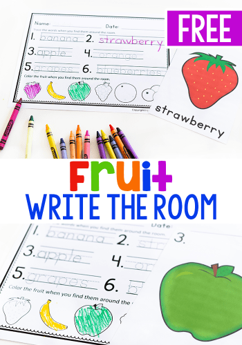 Free printable write the room activity for your preschool fruit theme.