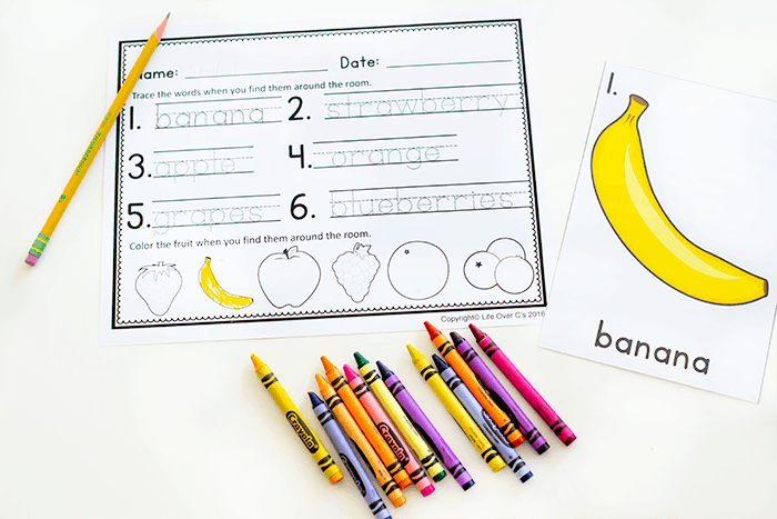 Free printable fruit theme preschool activity for your writing centers.