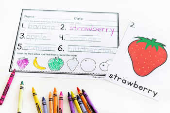 Free printable fruit theme writing activity for preschool writing centers.