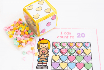 Free Valentine theme counting activity for preschool.