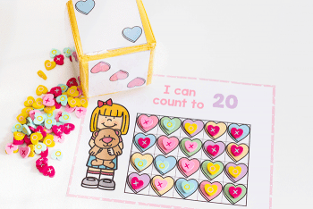 Free printable Valentine's Day counting activities for pre-k.