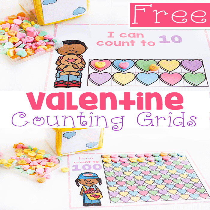 Free printable Valentine's Day counting games for kindergarten and pre-k.