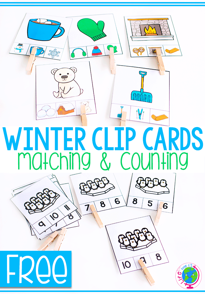 Winter counting activity for preschoolers. A great math worksheet alternative.