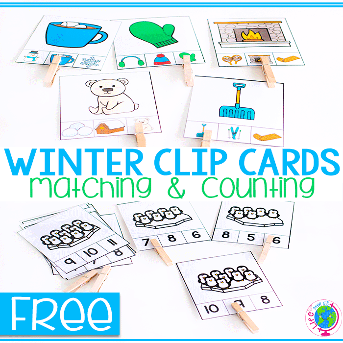 3 Winter Math Activities: Counting To 10 and Picture Matching Clip Cards