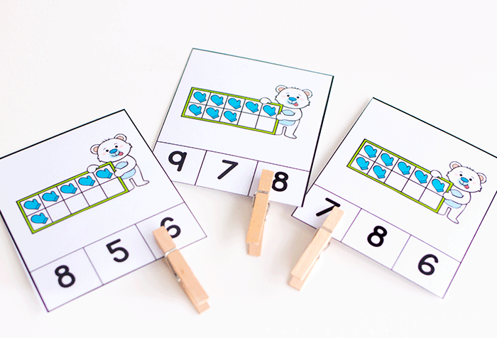 Free printable matching and counting activities for preschool.