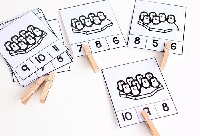 Work on number recognition for numbers 1-10 while counting arrays with these winter math activities for preschoolers.