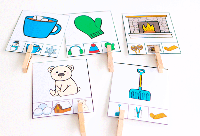 Visual discrimination is an important skills and these free printable winter matching clip cards are a great way to build matching skills and fine motor skills.