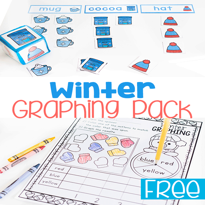 Free printable winter graphing activity pack with 3 free graphing activities.