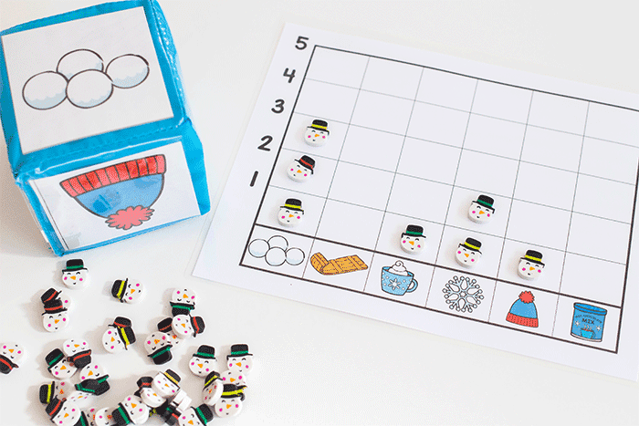 Free printable winter graphing games for your math center.