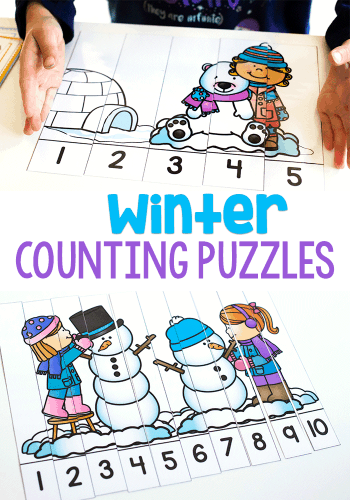 Free printable winter counting puzzles for 1-5 and 1-10.