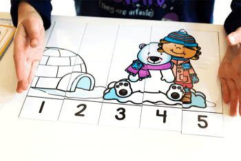 Count to five with these free winter puzzles for counting.