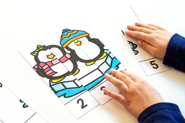 preschool counting activities for winter themes. Counting to 10 and counting to 5 winter theme puzzles.
