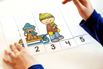 Practice counting with preschoolers using these free printable winter counting puzzles.