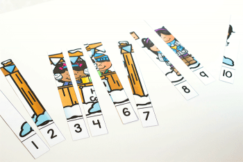 Free printable winter counting activities. Winter theme puzzles for counting to 5 and counting to 10.