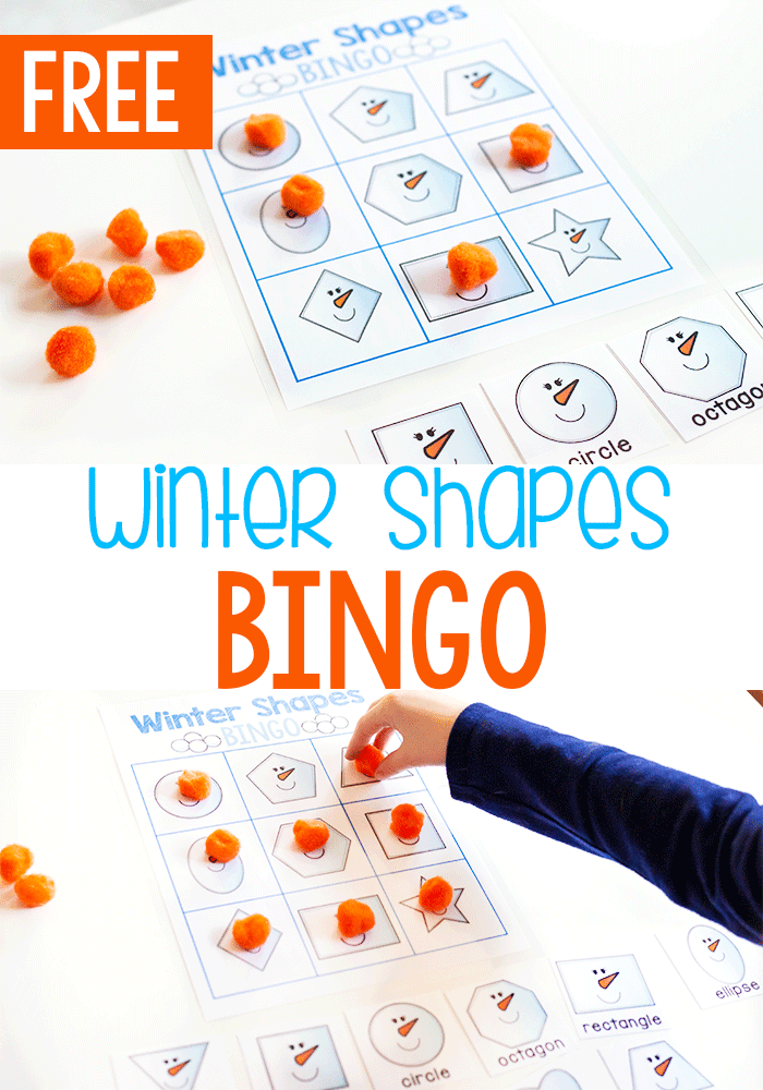 Free printable 2D shape activity for kindergarten. This free printable Winter BINGO game set is the perfect way to review 2D shapes.