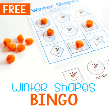 Free printable winter BINGO games for 2D shapes. Perfect 2D shape activity for kindergarten