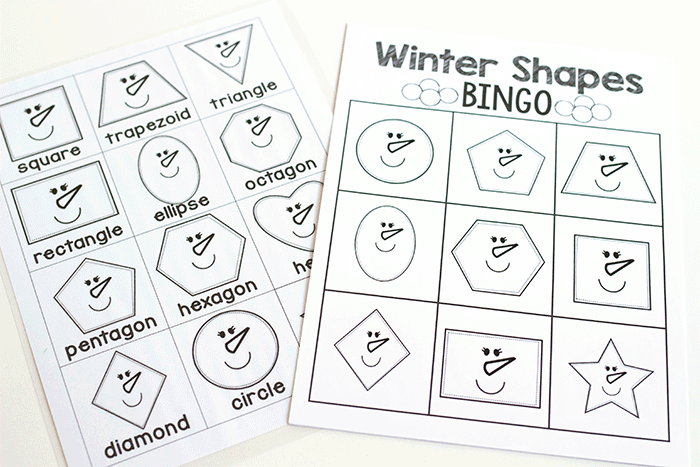 Kindergarten 2D Shape game for indoor recess or small groups. Use this winter theme BINGO game to review 2D shapes with your kindergarteners.