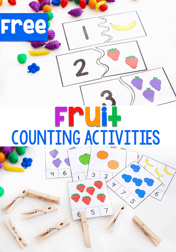 Free printable fruit counting activities including counting puzzles and counting clip cards.