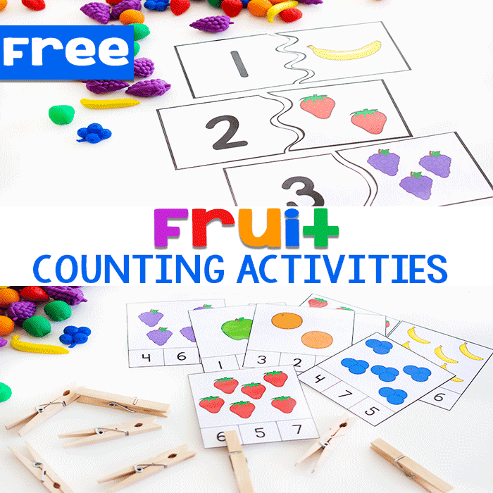 Free printable fruit counting activities for preschool math centers. Count to 10 with puzzles and clip cards.