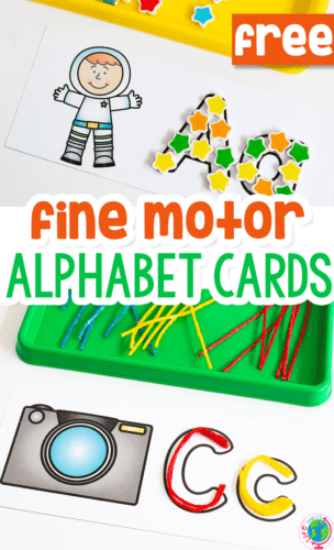 Grab your mini erasers and Wikki Sticks for this fun fine motor alphabet card printable for preschoolers!