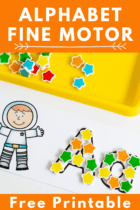 A is for astronaut. Make the letter A with mini erasers, wikki stix, pom poms, and other fine motor materials.