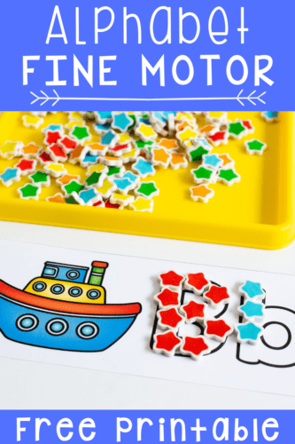 B is for Boat: Work on beginning sounds, letter recognition and letter formation with these free printable alphabet fine motor cards for preschoolers. Perfect for mini erasers, wikki stix, buttons, pom poms, dry erase markers and more!