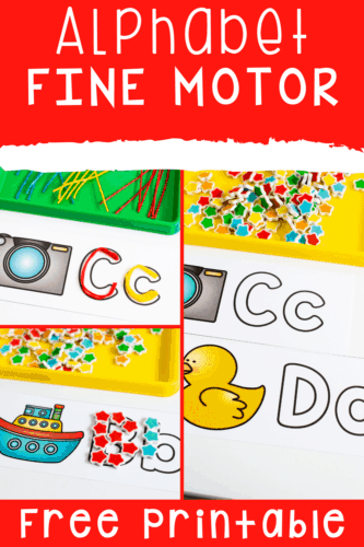 Alphabet outlines make it fun to learn letter formation using fine motor materials. Grab these free printable alphabet cards with matching beginning sounds pictures to learn the alphabet with your preschoolers, pre-k and kindergarteners.