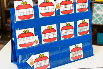 Free printable hide and seek game. hide an apple pie behind a ten-frame card and have the kids guess where the pie is hiding.
