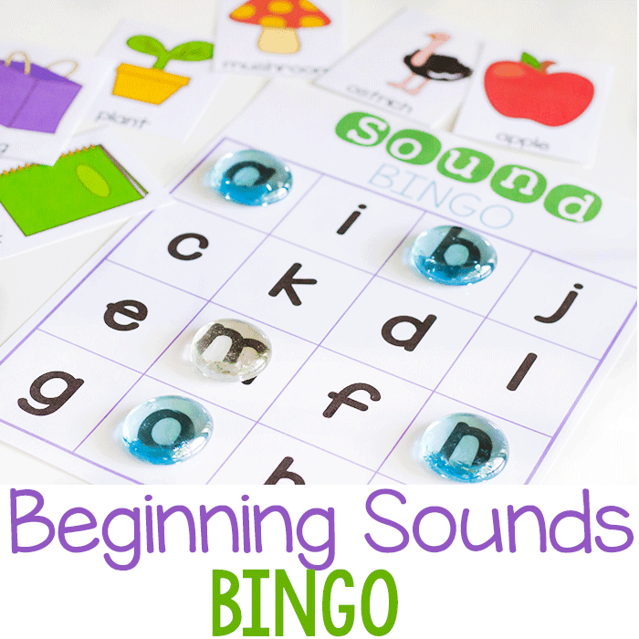 Beginning sounds BINGO game for initial letter sounds.