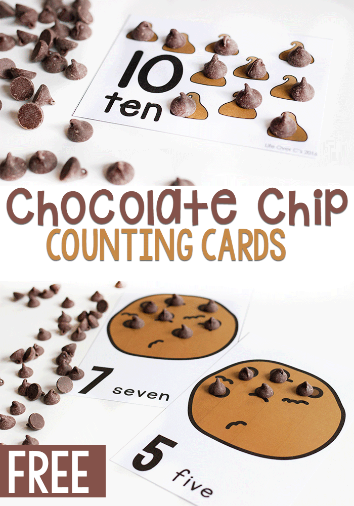 Free printable chocolate chip counting cards for preschoolers. A fun counting to 10 activity for kids.
