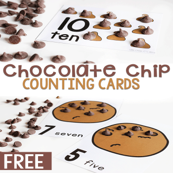 Chocolate chip cookie counting cards for preschool. Practice counting to 10 in Spanish and English.