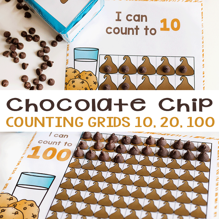 Free printable counting grids in Spanish and English. Chocolate chip Counting activities