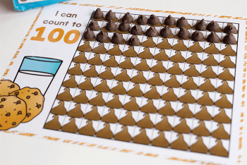 Chocolate chip hundred chart counting activity for kindergarten.