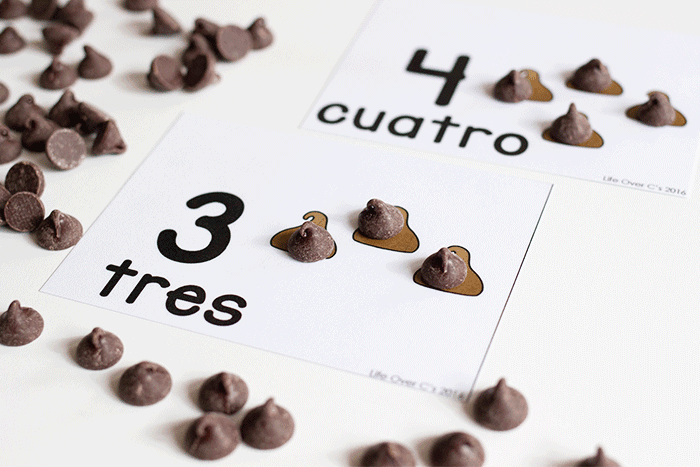 Spanish counting cards for preschool in an engaging chocolate chip cookie theme