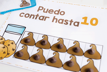 Spanish counting activities in a chocolate chip theme.