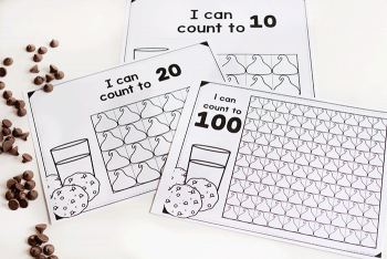 Count to 10, 20 and 100 with chocolate chip counting grids for preschool and kindergarten.
