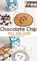 Learn numbers with preschoolers using this free printable roll and count dice game for preschool math centers. Kids love counting the chocolate chips!