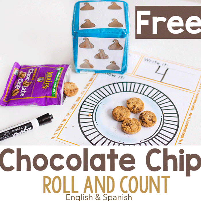 Free printable chocolate chip theme counting activity for preschoolers. This Roll and Count game makes it fun to practice counting.