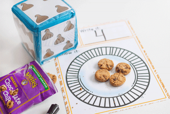 Free printable Chocolate Chip counting printable for preschoolers.
