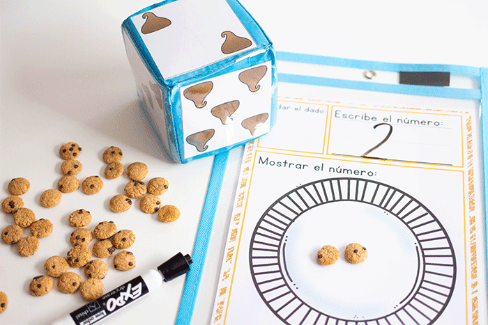 Learn Spanish for preschoolers with this chocolate chip counting activity.
