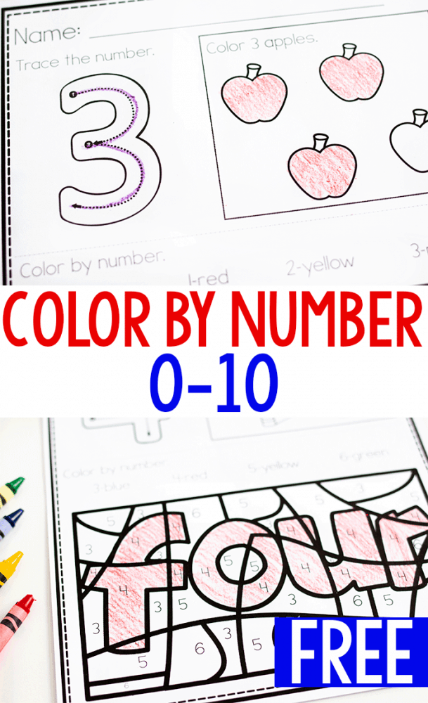 Free printable color by number worksheets for numbers 0-10.