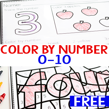 Free printable math worksheets for counting to 10. Trace the number, color the array, color number word by number.